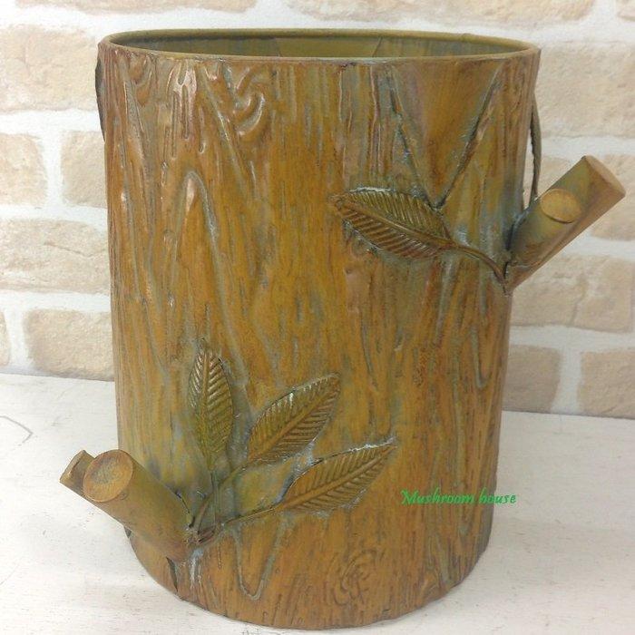 點點蘑菇屋 復古鐵製樹幹造型紙屑筒 鐵藝垃圾桶 垃圾筒 紙屑桶 鄉村風 田園風 佈置家飾 現貨