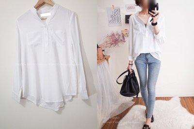 MAIGO ♥ 雙口袋半開V舒適軟棉素色襯衫 白/粉/藍