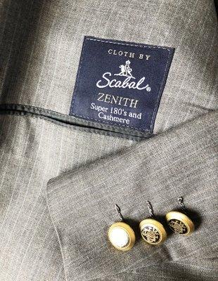 世界頂級西裝面料第一名 Scabal super 180 Cashmere  灰色條紋單排扣手工訂製西裝