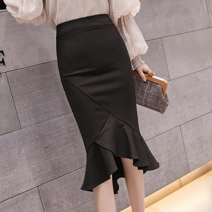 209春季新款時尚名媛高腰純色包臀裙子修身荷葉邊魚尾裙半身裙女