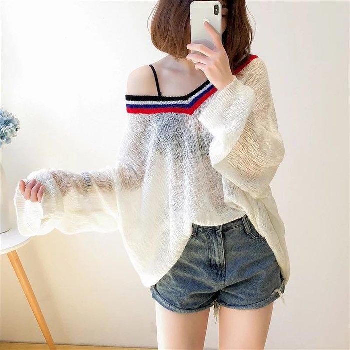 韓版性感縷空針織罩衫一字領防曬上衣長袖T恤寬鬆上衣