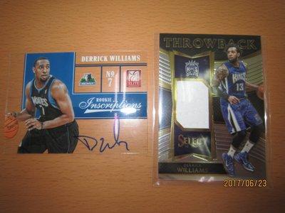 網拍讀賣~Derrick Williams~騎士隊球星~RC壓克力簽名卡~直簽~鐵面球衣卡~共2張~350元~輕鬆付~