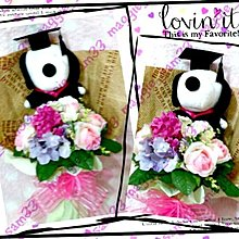 Snoopy 淺紫繡球X粉紅玫瑰 畢業公仔絲花花束花球~Kitty大口仔鬆弛熊Line~生日示愛禮物#289