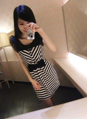 PINK-nail* in jp日本連線 澀谷購入知名專櫃品牌 精緻蕾絲*條紋設計洋裝