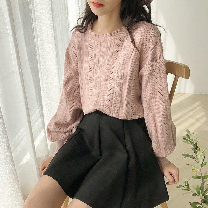 寬鬆韓款慵懶風蕾絲燈籠袖針織衫上衣