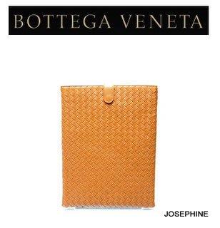 喬瑟芬【BOTTEGA VENETA】特價$17500含運~2011橘黃*7604 NAPPA小羊皮編織*257469 IPAD CASE保護套