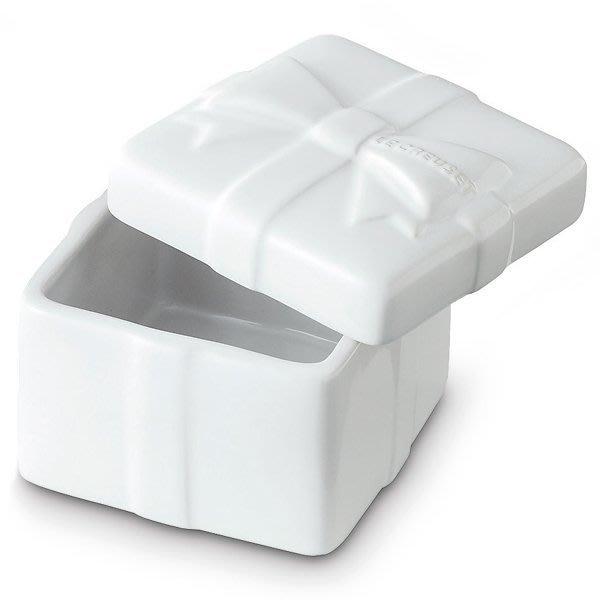 ☆JP PLUS+☆日本代購《法國 le creuset》方型 蝴蝶結 烤盅 收納罐 禮物盒-白色