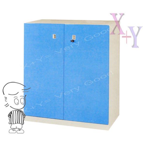 【X+Y時尚精品傢俱】藍色 106 雙開門下置式鋼製公文櫃.理想櫃適合學校. 公司.台南辦公家具