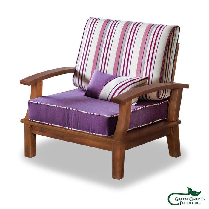 達莉兒 柚木單人沙發椅(含墊) 【大綠地家具】100%印尼柚木實木/絕版出清/實木沙發/室內戶外兩用