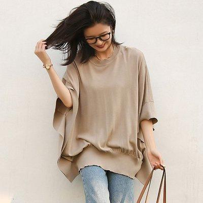 慵懶超舒適無拘束上衣 寬鬆蝙蝠七分袖針織衫 艾爾莎【TAE8736】