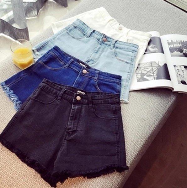 (全館一件免運費)ZUCAS-高腰牛仔褲 短褲 純色 鬚鬚 流蘇。S/M/L 【A-1103】