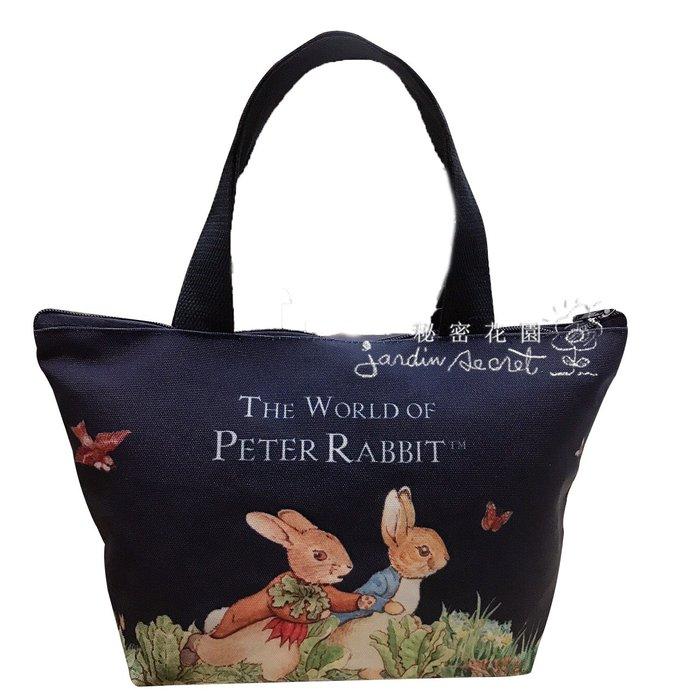 小提袋--彼得兔peter rabbit 比得兔帆布拉鍊提袋/便當袋--秘密花園
