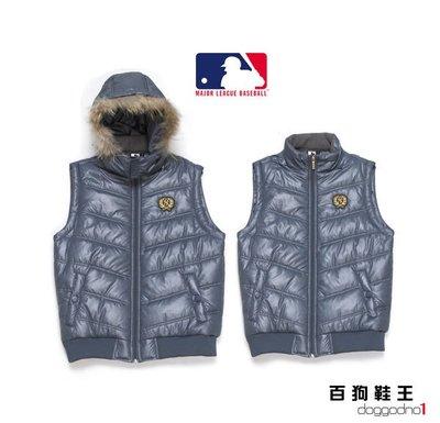 百狗衣舖 創信 MLB 美國職棒大聯盟 紐約 洋基隊 NYY yankees 舖棉連帽背心外套 灰色 抗寒