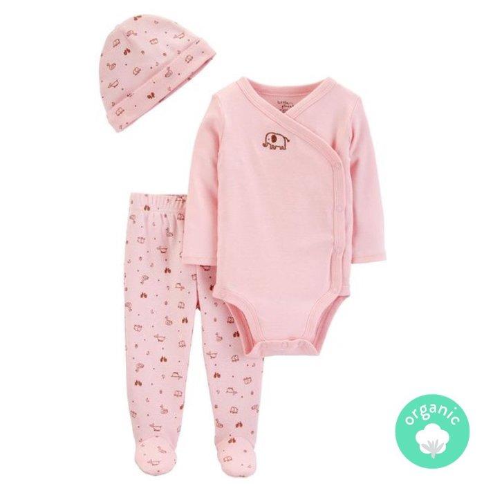 ♡NaNa Baby♡ 美國 Carter's 有機棉套裝3件組 - 粉紅象 #16395510