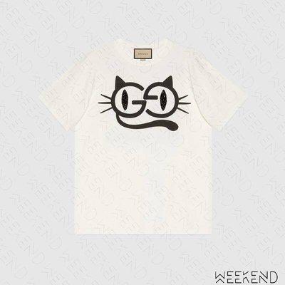 【WEEKEND】 GUCCI Cat Eyes 貓眼 短袖 上衣 T恤 白色 615044