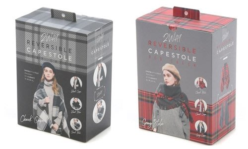 【東京速購】日本代購 COGIT 2WAY 雙面用 格紋 斗篷 披風 披肩 圍巾