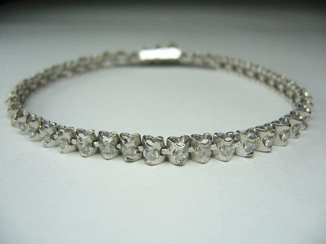 [吉宏精品交流中心]1.50克拉(46P) 天然鑽石 白K金 造型 手鍊