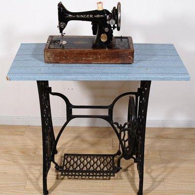 百寶軒 1932年英國蘇格蘭古董勝家Singer老式電動縫紉機缺件帶箱蓋擺件 ZG2272