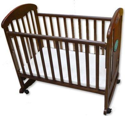 台灣製造附嬰兒床墊Mother's Love安全無鉛漆無毒實木床欄杆可調搖擺小床實木嬰兒床小鴨6188原木嬰兒床