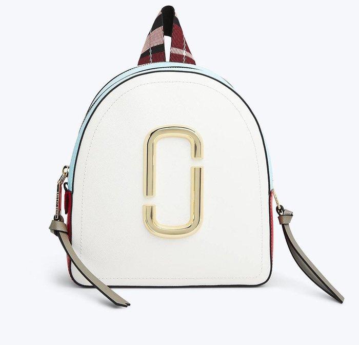 美國 Marc Jacobs Pack Shot Backpack 防刮牛皮時尚拼色後背包 多夾層