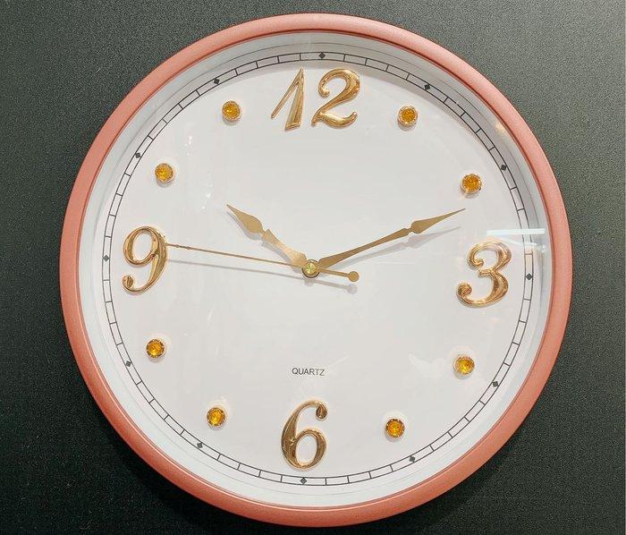 [靚錶閣]玫瑰粉金框+晶鑽時標面板/靜音時鐘