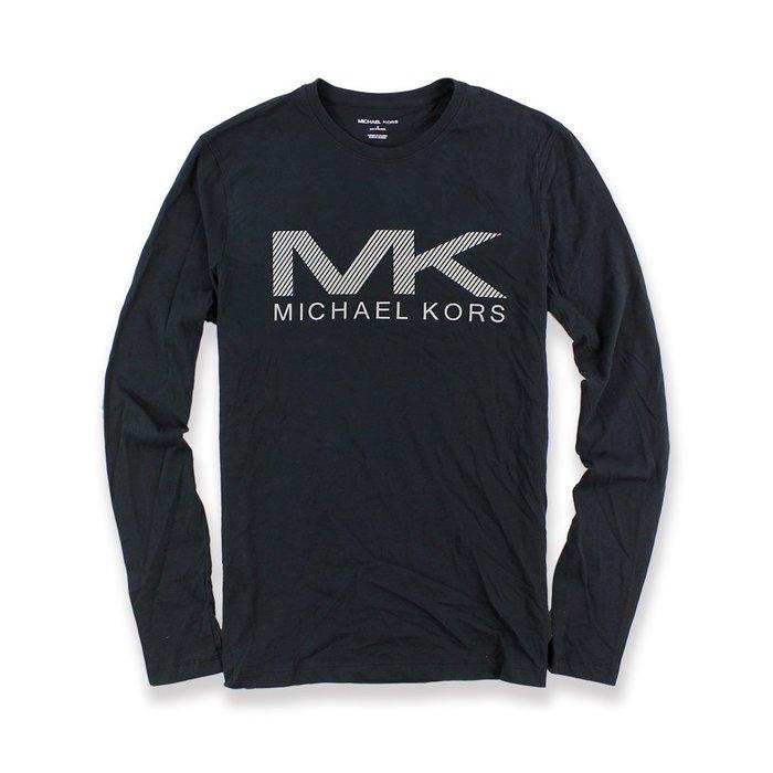 美國百分百【Michael Kors】長袖 T恤 MK 上衣 T-shirt 亮光 深藍 logo S號 F741