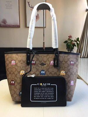 空姐精品代購 COACH 56649 新款吃豆人系列精靈雙面用子母托特包 購物袋 時尚潮流 容量大 附代購憑證