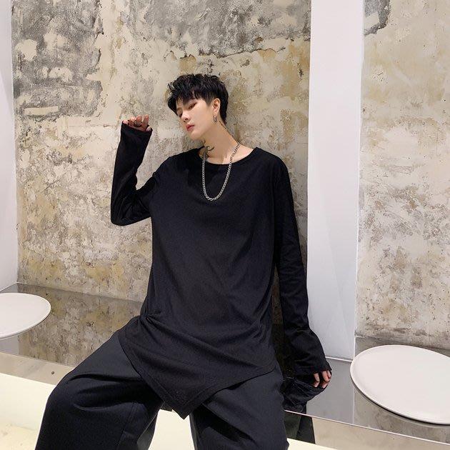 FINDSENSE 2019 秋季上新 G19 下擺個性寬鬆圓領百搭純色黑色白色男T 上衣 長袖T恤 素面T