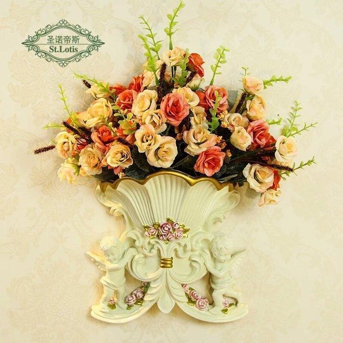 粉紅玫瑰精品屋~歐式壁飾天使插花壁掛家居牆飾花瓶背景牆上裝飾掛件工藝品~
