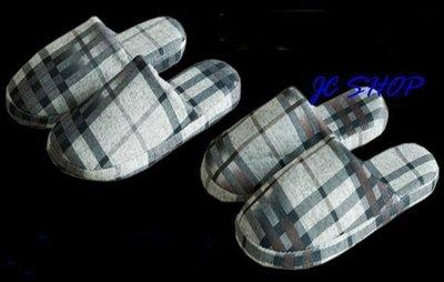 JC飾品批發*男生款條紋格紋居家室內厚底棉質脫鞋 團購禮品贈品-清倉款不退換貨