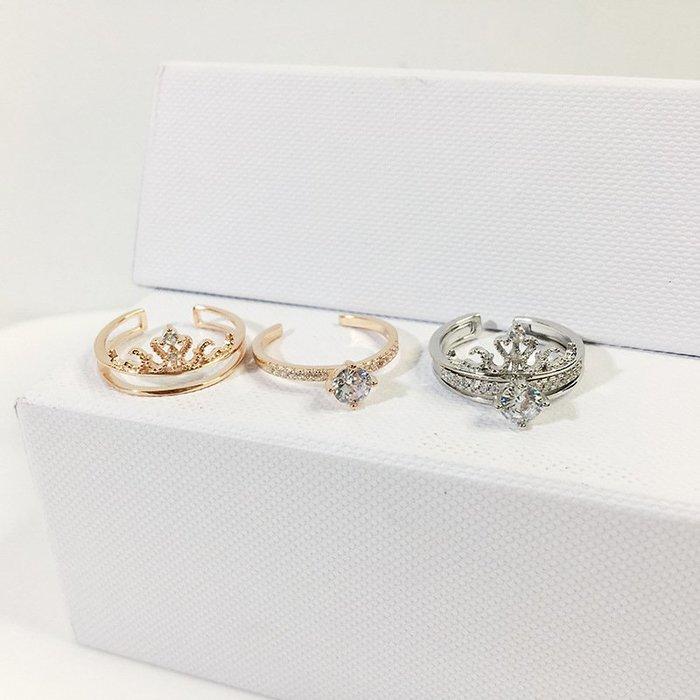 【超優質】戒指皇冠二合一s925韓國氣質鋯石手飾女抖音時尚OL