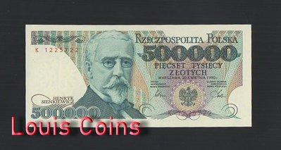 【Louis Coins】B479-POLAND-1990波蘭紙幣,500.000 Złotych