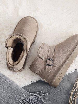 冬季新款時尚真皮雪地靴女短靴短筒加厚加絨新厚底防滑棉面包鞋小新惠鴨!ak