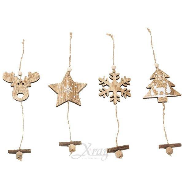 節慶王【X280001】木製吊飾(4款-隨機出貨),聖誕節/聖誕樹/聖誕老公公/聖誕木製品/掛飾/佈置/裝飾/擺飾/道具