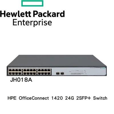 HPE (JH018A) HPE 1420-24G-2SFP+ Switch 24埠 GbE 網路交換器