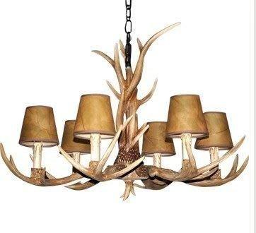 {美學}歐式客廳復古鹿角吊燈燈具復古客廳書房臥室仿古特色燈飾MX-2102