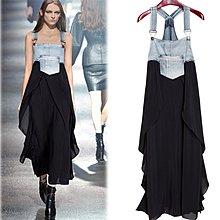 中大尺碼 牛仔裙 拼接洋裝連身裙長裙 背帶裙歐美 2F042-A.5019 胖胖美依牛仔部份偏深藍