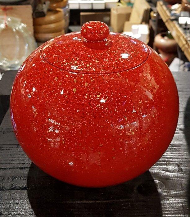 【星辰陶藝】陶瓷漆器 (紅,帶金粉),聚寶甕,聚寶盆,有蓋,財庫財位,老茶罐