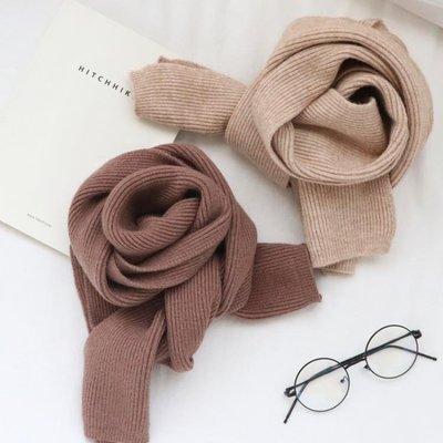 店長嚴選毛線圍巾女秋冬季韓版純色簡約百搭針織情侶小圍巾