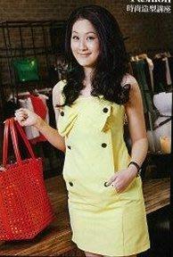 IROO黃色抽皺蝴蝶結俏麗洋裝(38) [5D019]