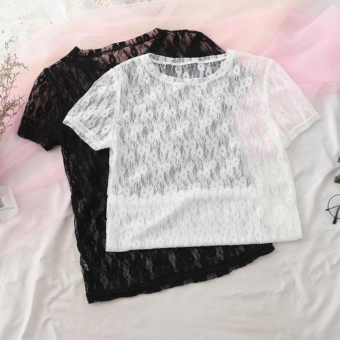 超夯夏季新款韓版甜美百搭鏤空花瓣網紗短袖t恤內搭蕾絲衫上衣