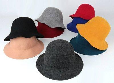 SEYES 復古英倫風百搭羊毛9色小寬緣帽