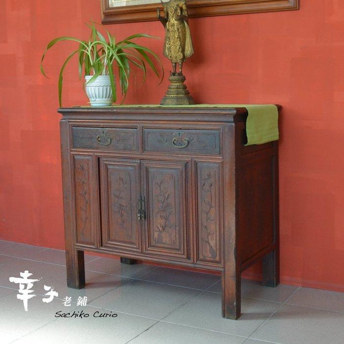 日據時期 檜木淺浮雕花鳥 雙屜桌櫃/五斗櫃~幸子老鋪