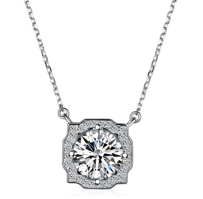 專仿鑽飾歐美專櫃純銀項鍊 高檔微鑲飾品 2克拉高碳鉆石 定制鉑金18K 高碳仿真鑽石  FOREVER鑽寶
