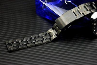 20mm黑色真空離子電鍍sea master 海馬風格不鏽鋼錶帶,非烤漆seiko, citizen**