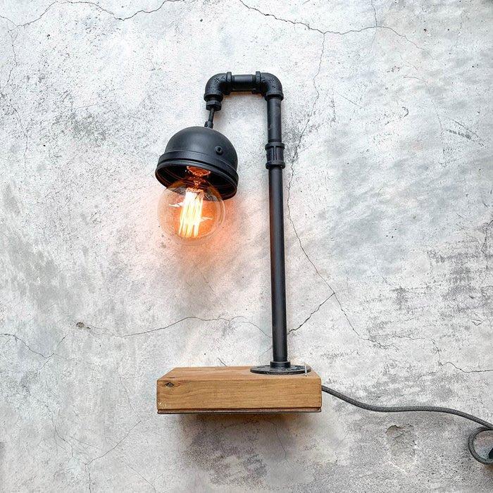 【曙muse】工業風水管造型桌燈 原木質感桌燈 造型檯燈 Loft 工業風 商店居家必選款 咖啡廳 民宿 餐廳 住家