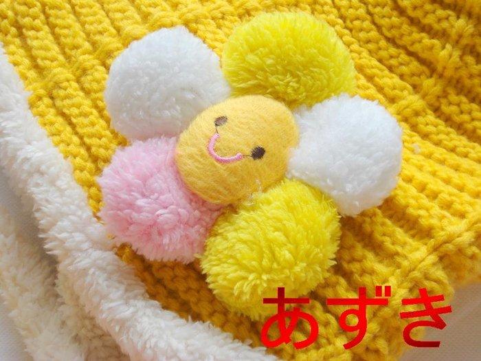 可愛花朵-單層遮耳裸空針織寬鬆版遮耳飛行款-花朵-黃色