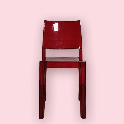 紅色半透明塑膠果凍椅