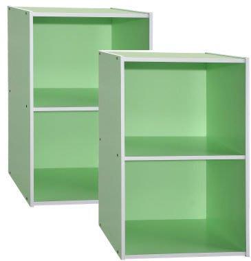 書櫃 收納櫃 【家具先生】1200-GN  炫彩開放二格書櫃-青草綠 (二入)