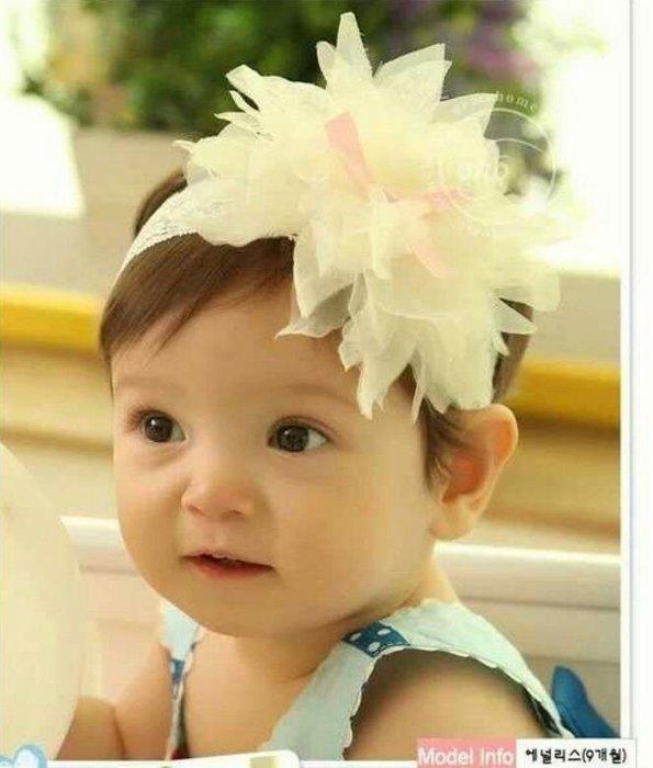 *ω*茱蒂*ω* 韓國嬰兒頭飾 大花 花瓣 蕾絲雪紡寶寶髮帶  拍照必備  特價$120/1入  *現貨*